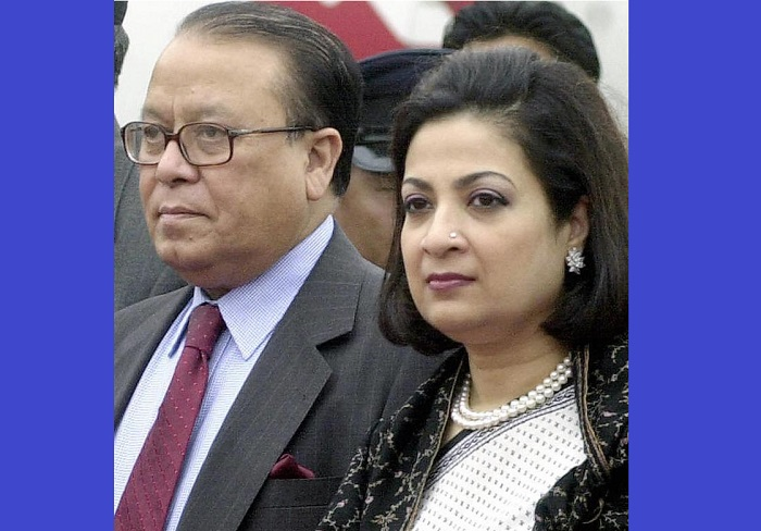 FILE PHOTO: Former Foreign Minister M Morshed Khan and his wife Nasrin Khan (right) pose at the Tribhuvan International Airport in Kathmandu, during their visit to Nepal on 18 November 2004.
