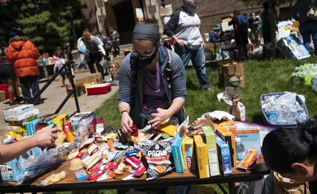 Minnesota residents arrange food and drink donations for those participating in peaceful protests    Getty Images