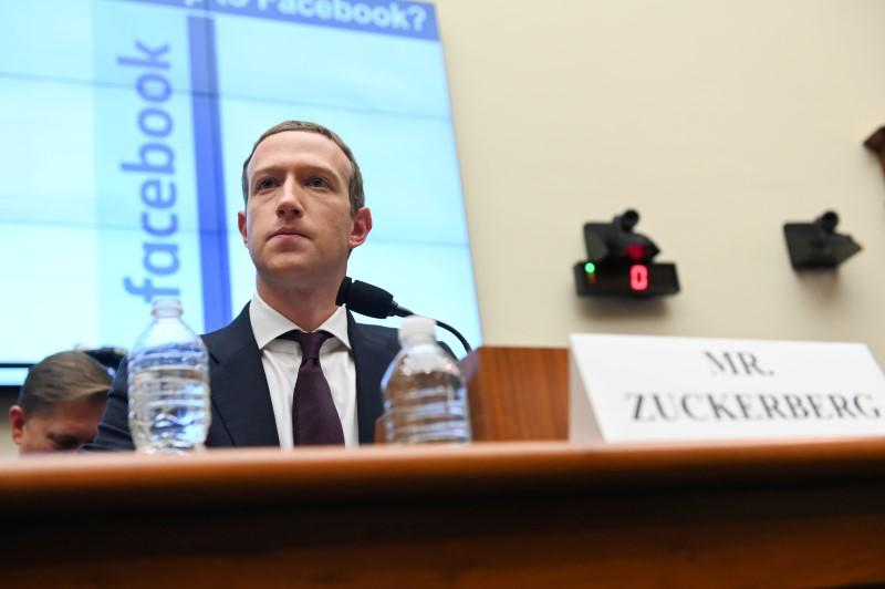 FB Chairman and CEO Mark Zuckerberg testifies at a House Financial Services Committee hearing in Washington, U.S., October 23, 2019. File Photo: Reuters