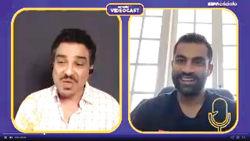 Tamim Iqbal (right) Live with Sanjay Manjrekar on ESPNcricinfo.  photo:: screenshot
