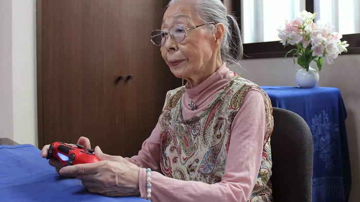 Hamako Mori, 90, known as 'Gamer Grandma', spends hours a day battling monsters and going on missions in the virtual worlds of her favourite games Courtesy of Keisuke Nagao/AFP