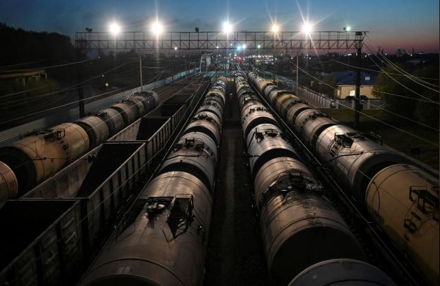 A view shows railroad freight cars, including oil tanks, in Omsk, Russia May 1, 2020. File photo: Reuters