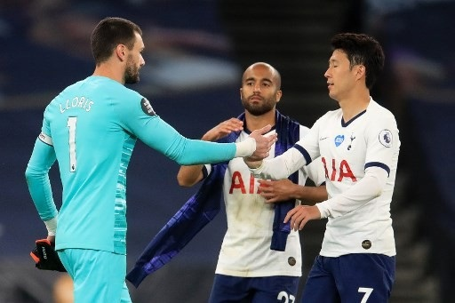 Tottenham teammates Son and Lloris clashed over 'pressing' matters at half time but appeared to have buried the hatchet at final whistle. Photo: AFP