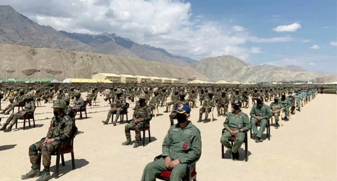 Soldiers await a visit by India's Prime Minister Narendra Modi in India's Himalayan desert region of Ladakh, India, July 3, 2020, in this still image taken from video. (REUTERS)