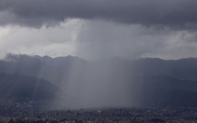 Monsoon rain is pictured over a portion of Bhaktapur, Nepal June 23, 2020. Photo: Reuters