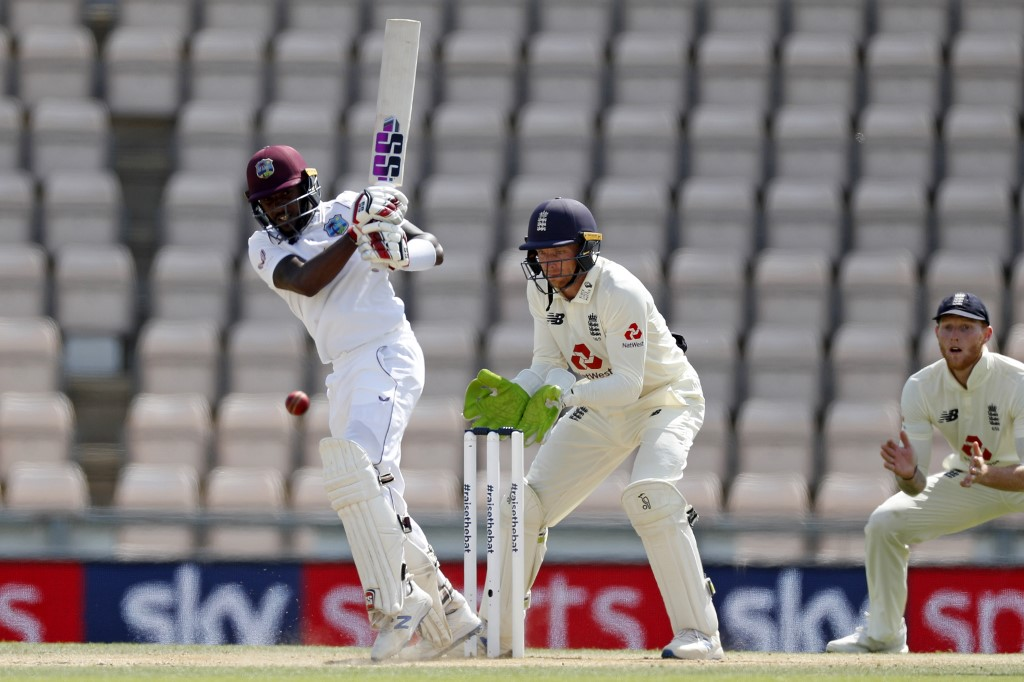 West Indies' Jermaine Blackwood plays a shot as England's Jos Buttler keeps wicket on the fifth day of the first Test match in Southampton Sunday. Photo: AFP