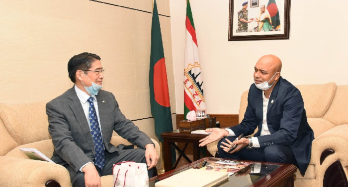 The Ambassador of Japan to Bangladesh H.E. Mr. Ito Naoki called on Major General S M Salahuddin Islam, BP, SPP, ndc, psc, Executive Chairman of BEPZA at the latter's office recently. They discussed on the various operational and policy related issues of Japanese investors.