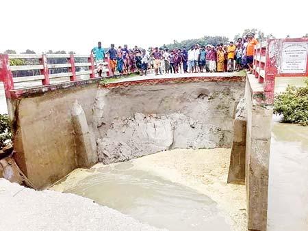 Bridge approach roads collapse in Tangail