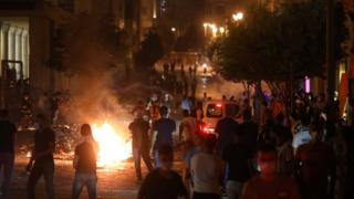 Dozens of people protested near parliament in Beirut REUTERS