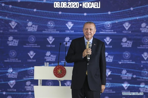 Turkish President Recep Tayyip Erdogan addresses the opening ceremony of the Scientific and Technological Research Council of Turkey (TUBITAK) Excellence Centers in the northwestern province of Kocaeli, Turkey, on Aug. 9, 2020. Erdogan said on Sunday that Turkey has become the third country to develop vaccines locally against COVID-19 after the United States and China, according to the World Health Organization. (Xinhua)