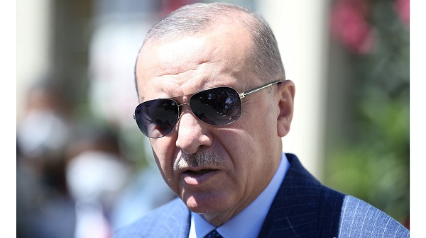 Turkish President Tayyip Erdogan talks to media after attending Friday prayers at a mosque in Istanbul, Turkey on August 14, 2020. Photo: Reuters