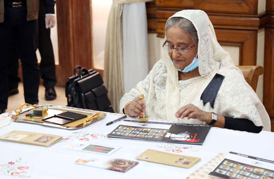 PM Hasina releases stamps, first day covers on Mourning Day