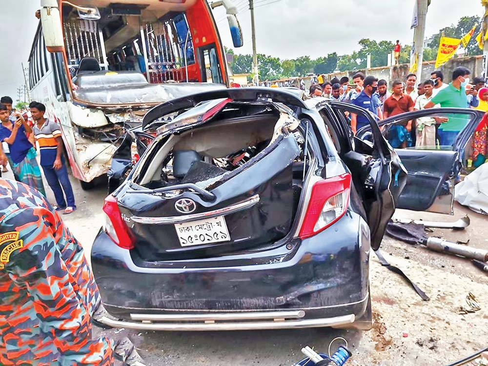 Six people have died in a head on collision between a bus and a private car in front of the Bhaluka Degree College on the Mymensingh-Dhaka Highway on Saturday.PHOTO: OBSERVER