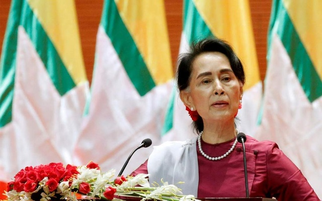 Myanmar State Counsellor Aung San Suu Kyi delivers a speech to the nation regarding the Rakhine and Rohingya situation, in Naypyitaw, Myanmar, September 19, 2017. Photo: Reuters
