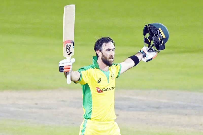 Australia's Glenn Maxwell celebrates scoring a century during the one-day international (ODI) cricket match between England and Australia at Old Trafford in Manchester on September 16, 2020.	photo: AFP