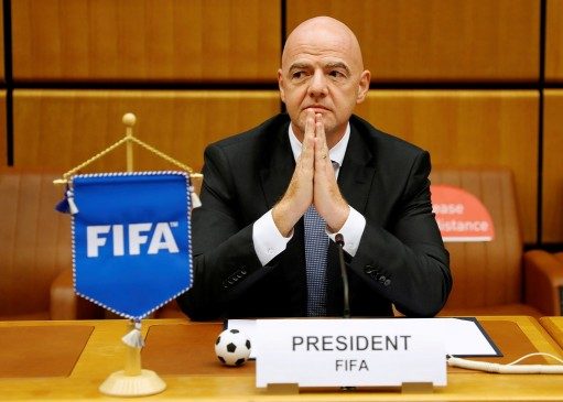 FIFA President Gianni Infantino waits for the start of a signing ceremony at the United Nations Office on Drugs and Crime (UNODC) headquarters in Vienna. Photo: Reuters