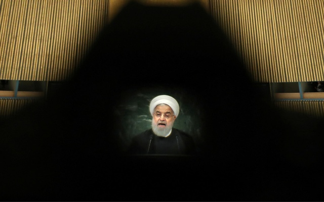 Iran's President Hassan Rouhani is seen through a camera eyepiece as he addresses the 73rd session of the United Nations General Assembly at UN headquarters in New York, US, September 25, 2018. Photo: Reuters