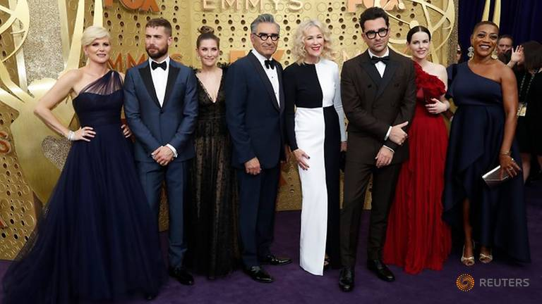 "71st Primetime Emmy Awards - Arrivals – Los Angeles, California, U.S., September 22, 2019 - The cast of ""Schitt's Creek"". File photo: Reuters"