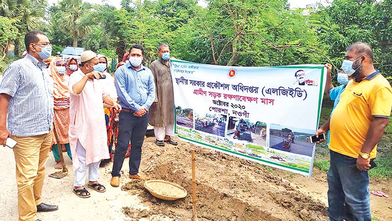 To mark the birth centenary of Father of the Nation Bangabandhu Sheikh Mujibur Rahman, LGED started a month-long village road maintenance on Thursday in Porsha Upazila of Naogaon (L) and Lohagara Upazila of Chattogram. photos: observer