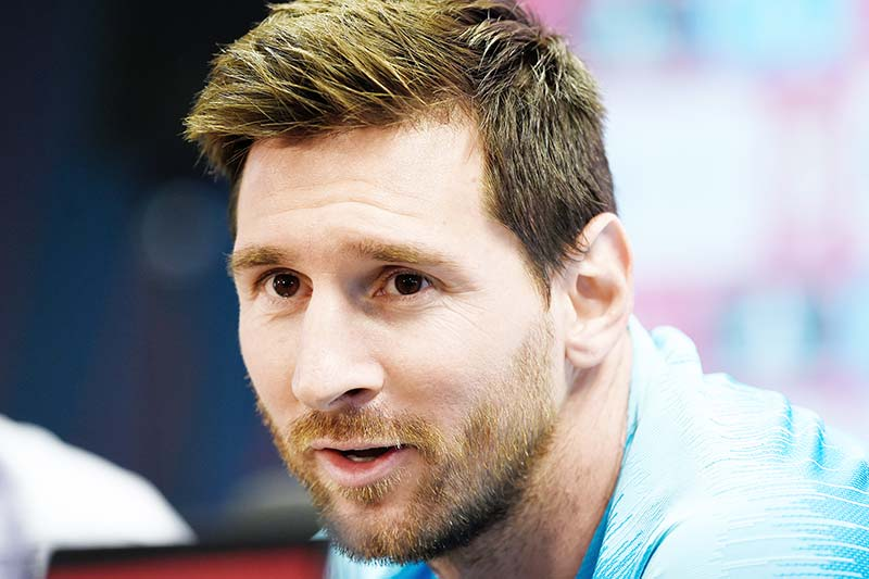 (FILES) In this file photo taken on May 24, 2019 Barcelona's Argentinian forward Lionel Messi holds a press conference at the Joan Gamper Sports City in Sant Joan Despi near Barcelona on the eve of the 2019 Copa del Rey (King's Cup) final football match between Barcelona and Valencia. Argentinian Lionel Messi criticised the world's social inequalities on October 15, 2020, in an unusual interview with the Argentinian monthly magazine La Garganta Poderosa (The Powerful Throat), an indie publication written and produced by residents of different slums, which number 100 was dedicated to the football star.photo: AFP