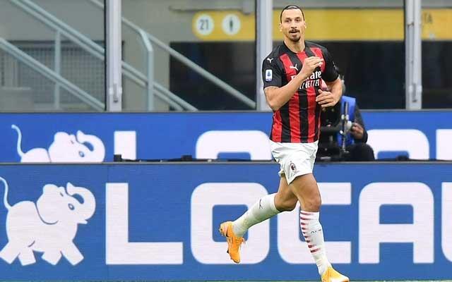 Football - Serie A - Inter Milan v AC Milan - San Siro, Milan, Italy - October 17, 2020 AC Milan's Zlatan Ibrahimovic celebrates scoring their second goal | Reuters