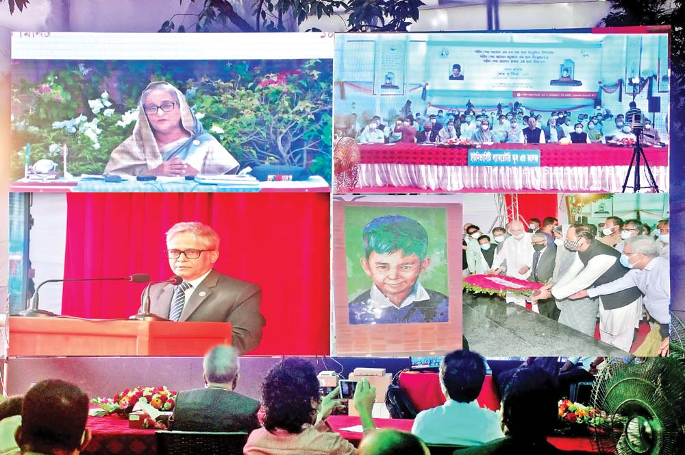 Prime Minister Sheikh Hasina speaking at an event marking the 57th birth anniversary of her late brother and Bangabandhu Sheikh Mujibur Rahman's youngest child Sheikh Russel via videoconference from her official residence on Sunday. photo: du