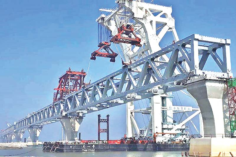 Padma Bridge mostly visible after installation of 33rd span