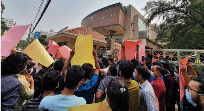 NSU students reject 20% waiver of tuition fees, continue protest