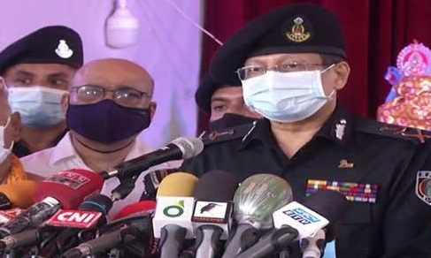 RAB Director General Chowdhury Abdullah Al-Mamun talks to media after inspecting overall security situation at the Banani Puja Mandap in the capital on Thursday afternoon.