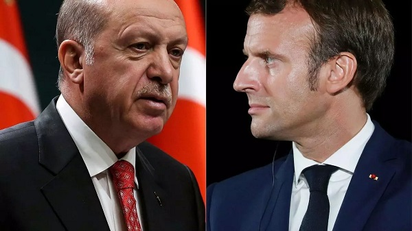 Turkish President Recep Tayyip Erdogan (left) on Saturday hit out at France's President Emmanuel Macron for his recent comments on Islam, as calls for a boycott of French goods grow in Muslim countries Adem ALTAN, Ludovic Marin AFP