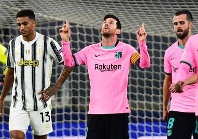 Messi celebrates scoring their second goal
