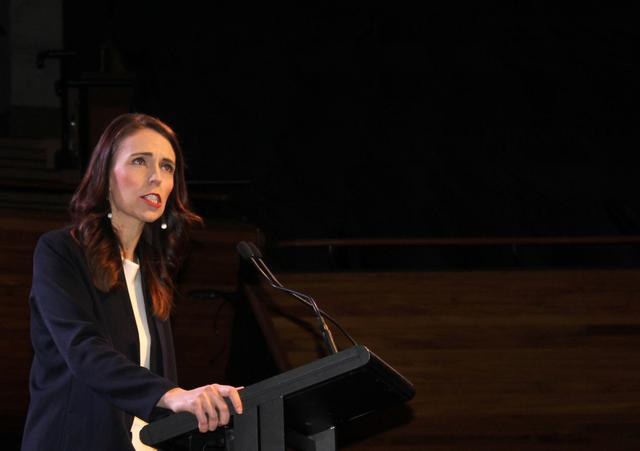 Prime Minister Jacinda Ardern addresses her supporters at a Labour Party event in Wellington, New Zealand, October 11, 2020. REUTERS/Praveen Menon