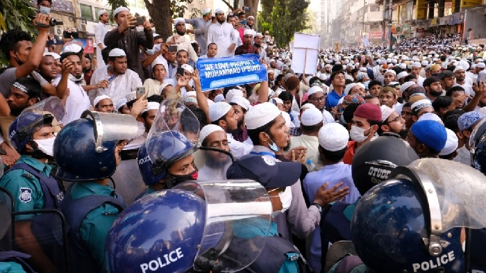Supporters of several Islamist parties protest after Friday prayers in Dhaka, Bangladesh, on Oct. 30, 2020. AP
