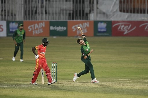 Pakistan's Shaheen Afridi delivers a ball during their first one-day international (ODI) cricket match against Zimbabwe at the Rawalpindi Cricket Stadium in Rawalpindi on Friday AFP