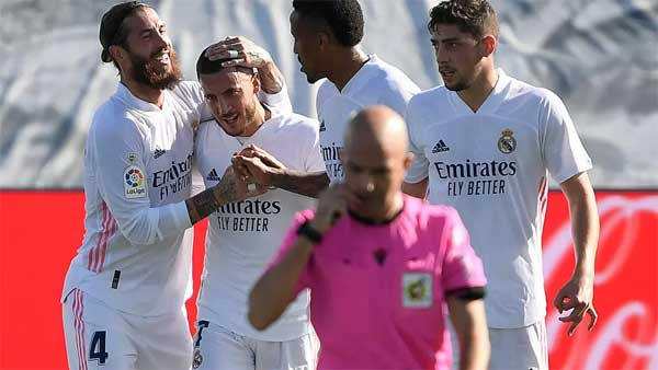 Eden Hazard scored his first goal for Real Madrid in over a year on Saturday in a 4-1 win over Huesca. OSCAR DEL POZO AFP