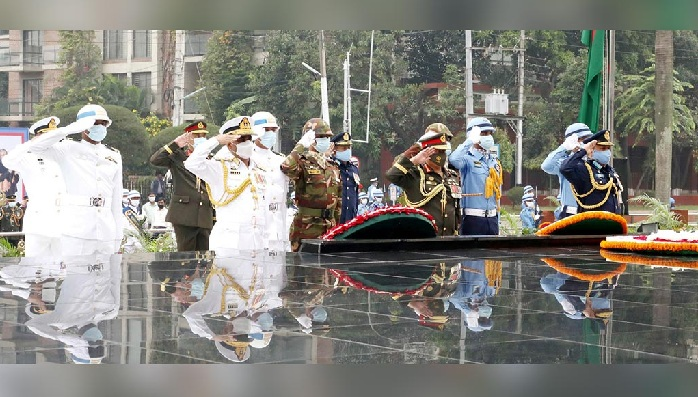 Chief of Army Staff General Aziz Ahmed, Chief of Naval Staff Admiral M Shaheen Iqbal and Chief of Air Staff Air Chief Marshal Masihuzzaman Serniabat, on behalf of their respective forces, pay homage to the members of Armed Forces who sacrificed their lives in the Liberation War on the occasion of Armed Forces Day 2020, Saturday, November 21, 2020.