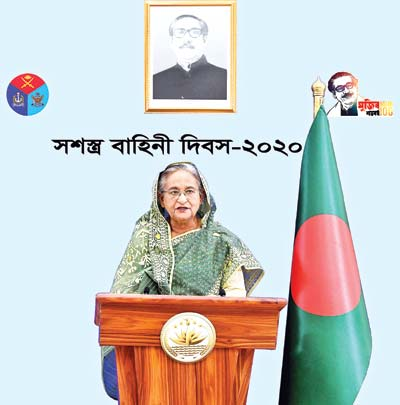 Prime Minister Sheikh Hasina addresing the nation on the  occasion of the Armed Forces Day on Saturday.PHOTO: PID