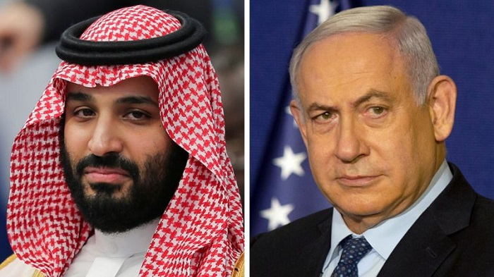 Composite showing Saudi Crown Prince Mohammed bin Salman (L) and Israeli Prime Minister Benjamin Netanyahu (R)image copyrightReuters image captionIsraeli media reported that Crown Prince Mohammed bin Salman met Israeli Prime Minister Benjamin Netanyahu --Reuters