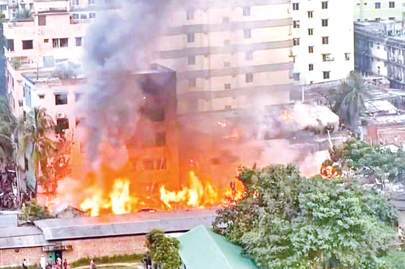 The fire that broke out at Bihari Patti on Babar Road in the capital was brought under control on Tuesday.photo : Observer