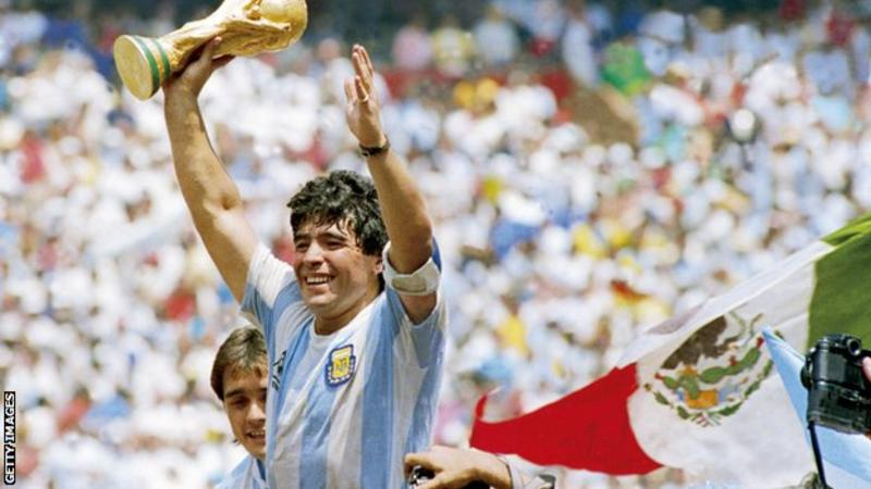 Diego Maradona was inspirational as captain when Argentina won the World Cup in 1986. Photo: Getty Images