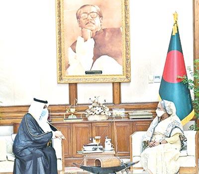 Saudi Ambassador to Bangladesh Essa Yousef Alduhailan calls on Prime Minister Sheikh Hasina at the latter's official residence Ganobhaban on Thursday.photo : pid