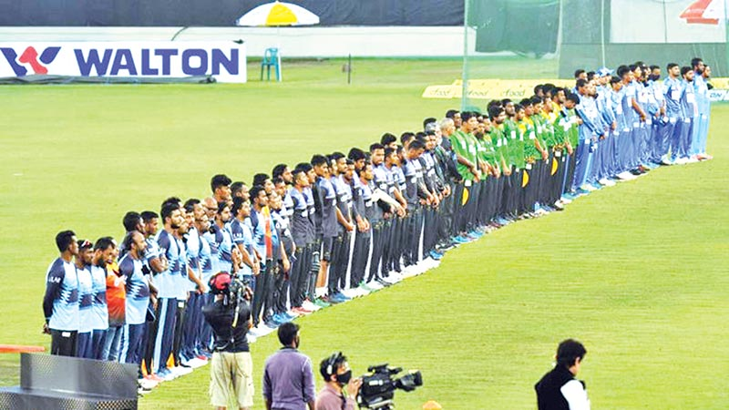 Bangladesh cricketers at Sher-e-Bangla National Stadium in Mirpur observe a one minute silence to pay tributes to  Diego Maradona, the football legend, on Thursday.photo : Observer