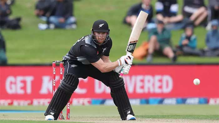 New Zealand's Glenn Phillips hits a reverse sweep on the way to a record-breaking century MICHAEL BRADLEY AFP