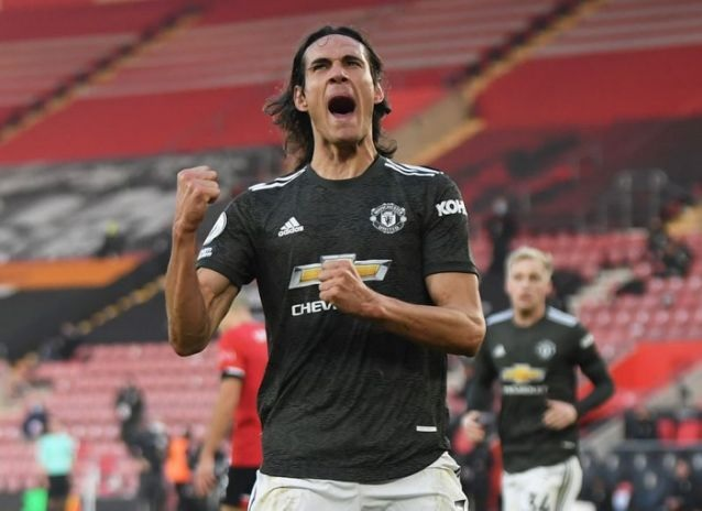 Soccer Football - Premier League - Southampton v Manchester United - St Mary's Stadium, Southampton, Britain - November 29, 2020 Manchester United's Edinson Cavani celebrates scoring their second goal Pool via REUTERS/Mike Hewitt