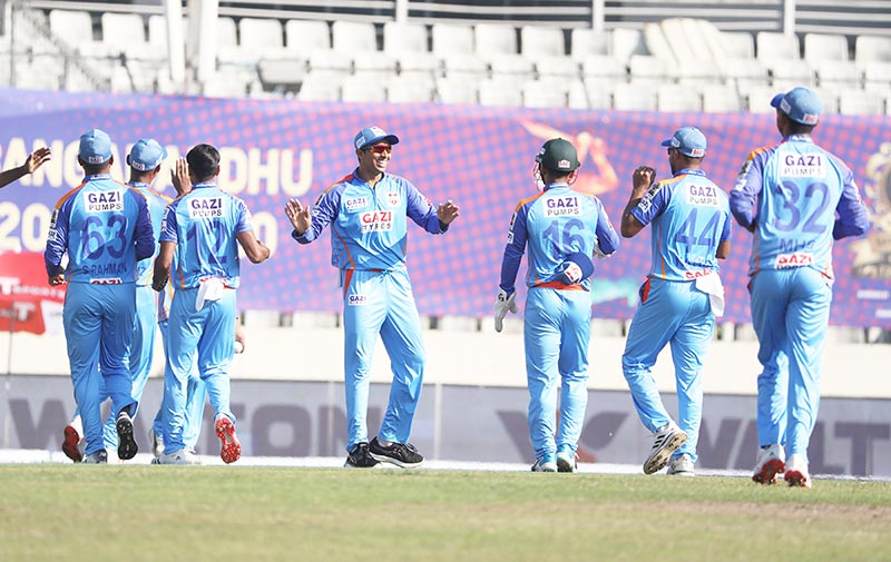 Gazi Group Chattogram players are celebrating a wicket against Fortune Barishal on Monday in the match of Bangabandhu T20 Cup at Sher-e-Bangla National Cricket Stadium, Mirpur.photo: BCB