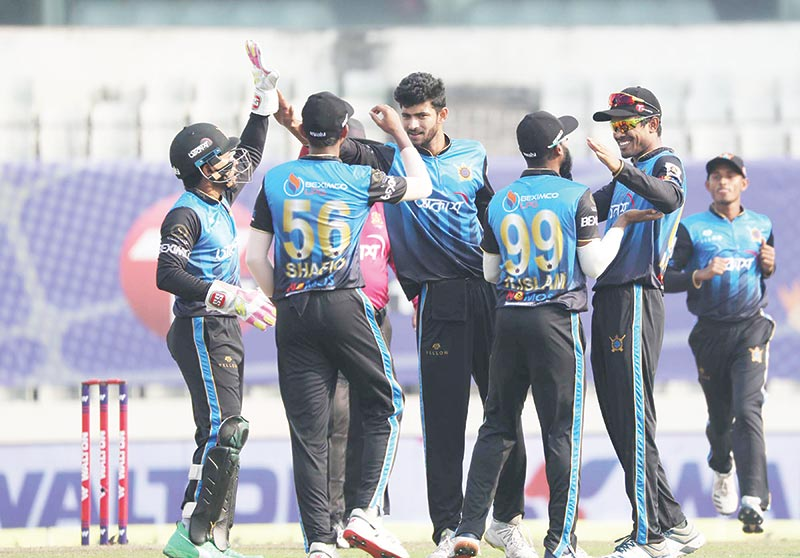 Players of Beximco Dhaka celebrating after taking wicket during the match against Fortune Barisal on Wednesday at Sher-e-Bangla National Cricket Stadium, Mirpur. 	photo: BCB