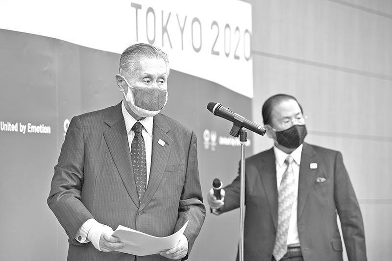 Tokyo 2020 President Yoshiro Mori (L) and CEO Toshiro Muto (R) meet with the media after an opening plenary session of the three-party meeting on Tokyo 2020 Games additional costs due to the impact of the COVID-19 pandemic in Tokyo on December 4, 2020.photo: AFP