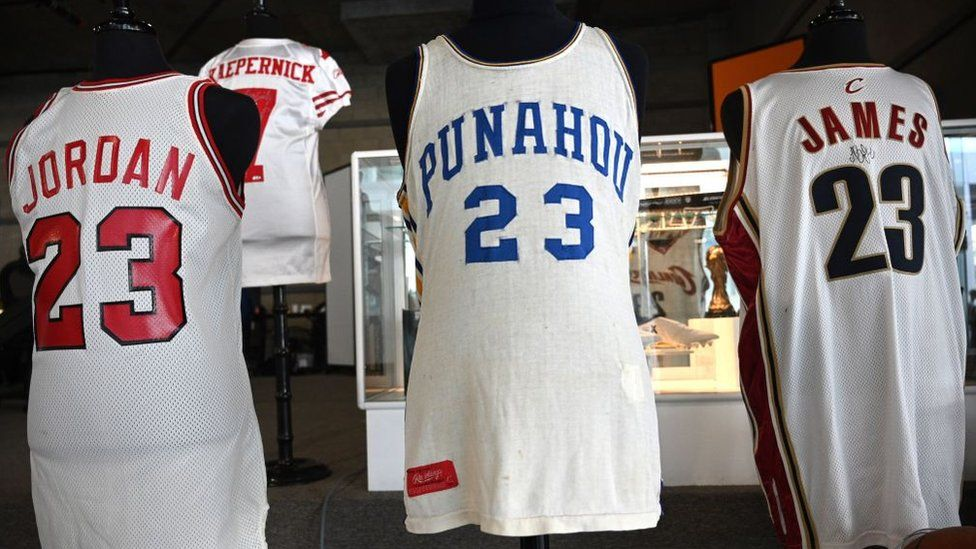 Sports shirts worn by Michael Jordan, Colin Kapaernick, Barack Obama and LeBron James sold for hundreds of thousands of dollars. Photo: AFP