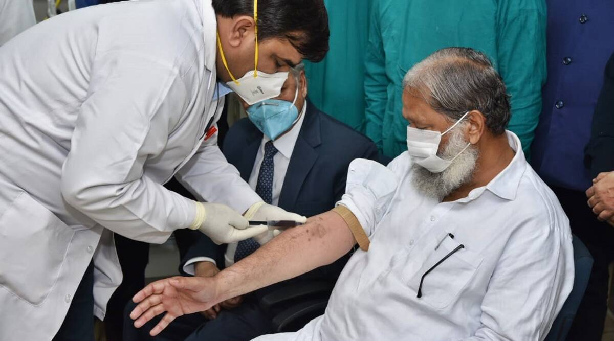 Haryana's Health Minister Anil Vij was administered the Covaxin vaccine on November 20. (File Photo)