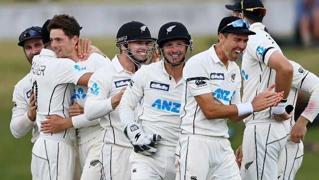 New Zealand players celebrate after defeating Pakistan by 101 runs on the final day of the first cricket Test at Bay Oval, Mount Maunganui. AP